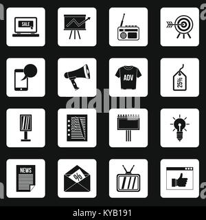 Advertisement icons set in white squares on black background simple style vector illustration - Stock Photo