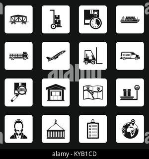 Logistic icons set in white squares on black background simple style vector illustration - Stock Photo