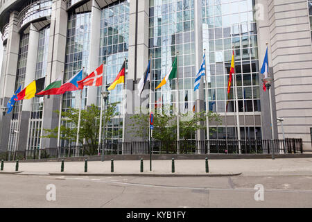The European Parliament buildings in Brussels, Belgium with lots of European flags. - Stock Photo