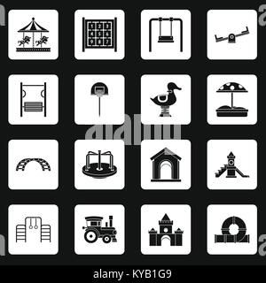 Playground icons set in white squares on black background simple style vector illustration - Stock Photo
