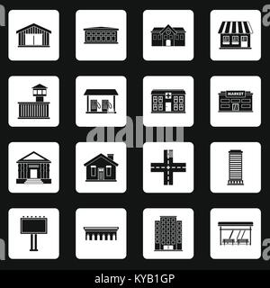 City infrastructure items icons set in white squares on black background simple style vector illustration - Stock Photo
