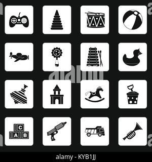 Different kids toys icons set in white squares on black background simple style vector illustration - Stock Photo