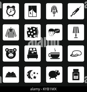 Sleep icons set in white squares on black background simple style vector illustration - Stock Photo