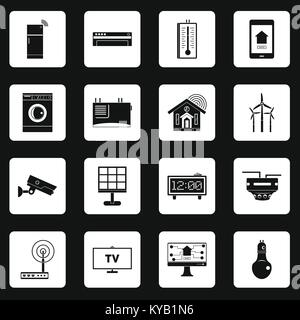 Smart home house icons set in white squares on black background simple style vector illustration - Stock Photo