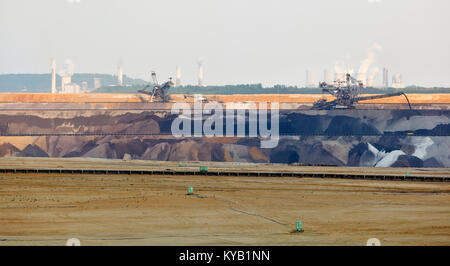 Panoramic view of a large lignite surface mine with bucket-wheel excavators and other large machines, two lignite - Stock Photo