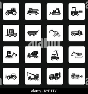 Building vehicles icons set in white squares on black background simple style vector illustration - Stock Photo