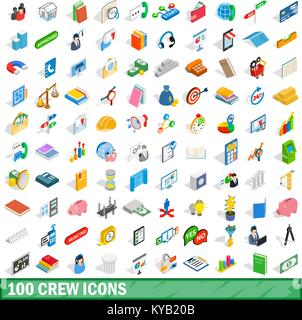 100 crew icons set in isometric 3d style for any design vector illustration - Stock Photo