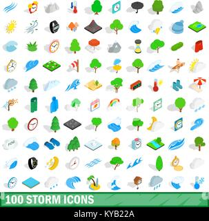 100 storm icons set in isometric 3d style for any design vector illustration - Stock Photo