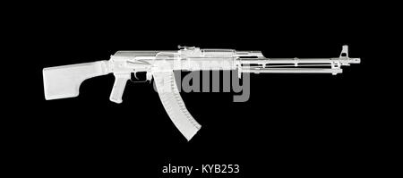 Weapon - A close up black Assault rifle on a white background. It is isolated, the worker of paths is present. - Stock Photo