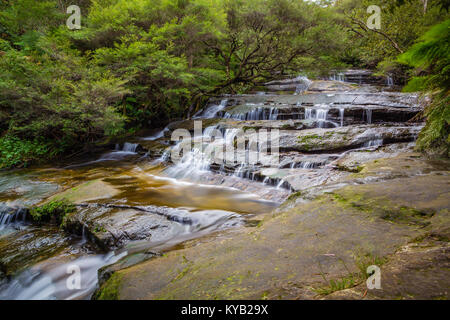 A long exposure shot of the Leura Cascades in National Park The Blue Mountains, Australia. - Stock Photo