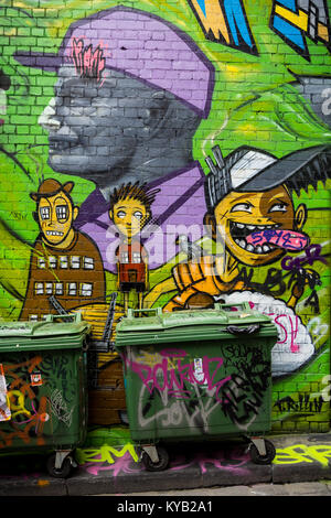 Street art in Hosier Lane in Melbourne. - Stock Photo