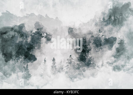 Abstract art work showing a dark forest with birch trees. Mixed media - Stock Photo