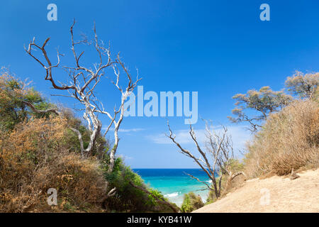 A footpath at the end of Makena Beach in Maui, Hawaii leading to a secluded beach. - Stock Photo