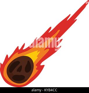 Meteorite icon flat isolated on white background vector illustration - Stock Photo
