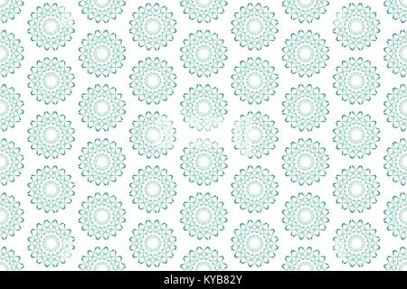 Simple green vector seamless pattern with circular geometric shapes, isolated on white background - Stock Photo