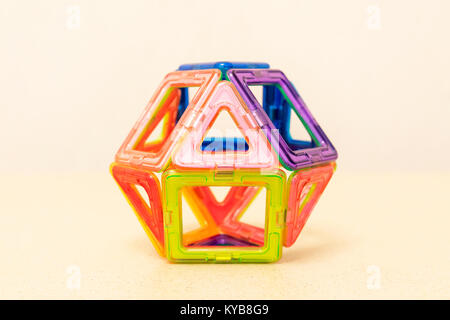 Children's magnetic constructor. Details, geometric shapes. ball - Stock Photo