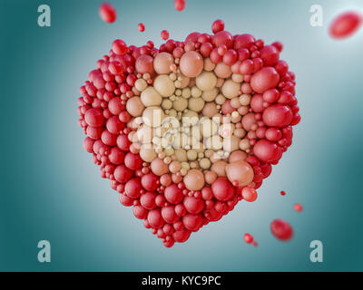 Abstract figure of balloons in the form of heart. 3D rendering - Stock Photo