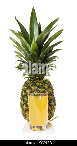 pineapple juice in a glass on white isolated background - Stock Photo