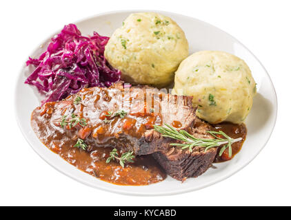 Sauerbraten on plate isolated - Stock Photo