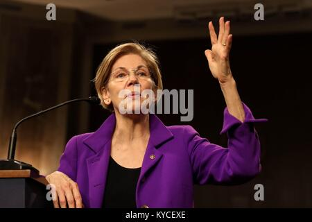 U.S. Senator Elizabeth Warren of Massachusetts speaks during the Senate Diversity Initiative Winter Social event - Stock Photo