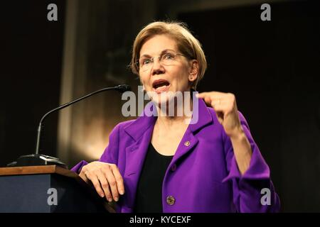 U.S. Senator Elizabeth Warren of Massachusetts speaks during the Senate Diversity Initiative Winter Social event - Stock Photo