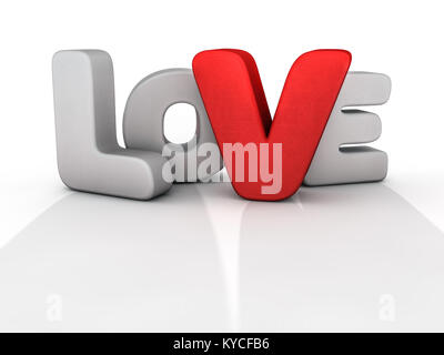 Word love over background with reflection. 3D rendering. - Stock Photo