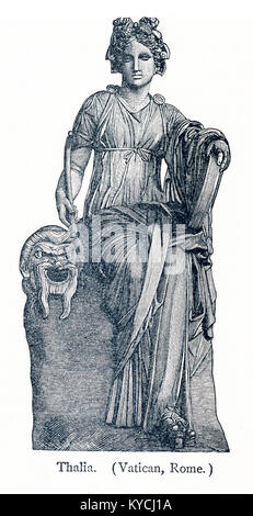 This illustration dates to 1898 and shows a statue of Thalia in the Vatican Museum. Erato was honored as the Muse - Stock Photo