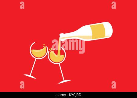 GLASSES AND BOTTLE IN NEW YEAR'S TOAST - Stock Photo