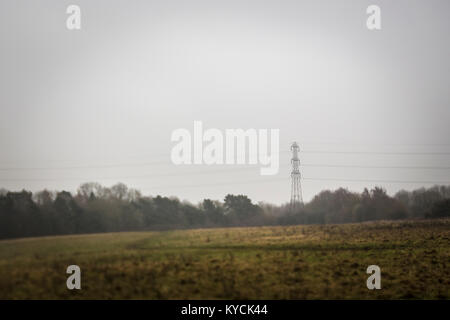 Pylons viewed across Bilton Fields, Harrogate - Stock Photo