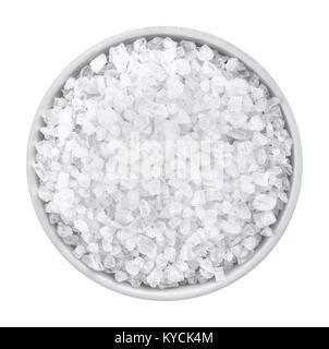 Coarse sea salt on white background top view - Stock Photo