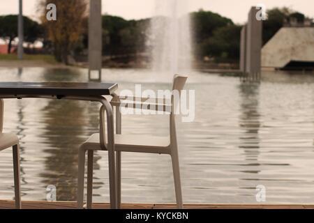 Fountain in a garden in Lisbon, Portugal - Stock Photo