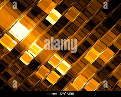 Golden tech style background - abstract computer-generated image. Fractal art - grid with glowing cells or chaos - Stock Photo