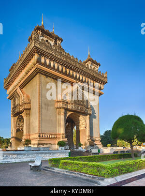 Patuxay monument or Gate of Triumph in Vientiane, Laos - Stock Photo