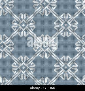 Norwegian knitted pattern in vintage blue color. Woolen seamless knitted pattern - Stock Photo