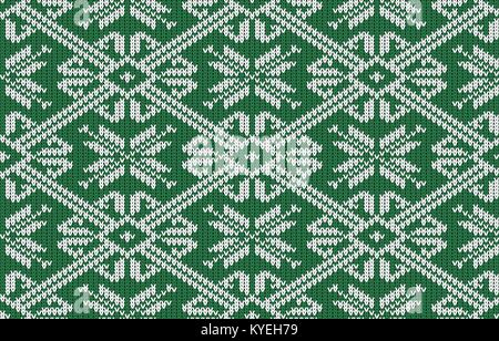 Norwegian knitted pattern with snowflakes in vintage green color. Woolen seamless knitted pattern - Stock Photo