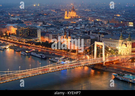 Budapest city view from top location at night - Stock Photo