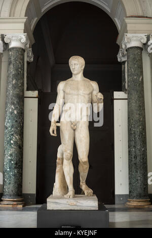 Naples. Italy. Roman sculpture of Doryphoros, from Pompeii, Museo Archeologico Nazionale di Napoli. Naples National - Stock Photo