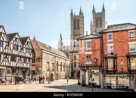 Lincoln Cathedral, in the old town, is a historic Anglican cathedral in Lincoln in England and seat of the Bishop - Stock Photo