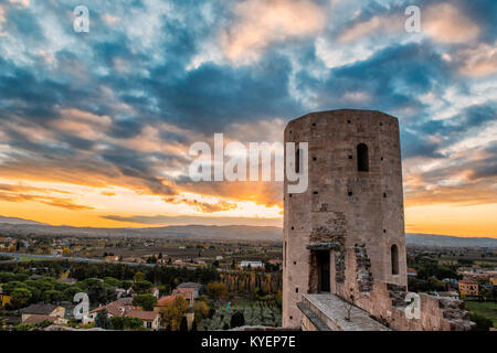 Spello, Perugia, Umbria. Umbria the green heart of Italy. Spectacular image at sunset of the imposing Towers of - Stock Photo