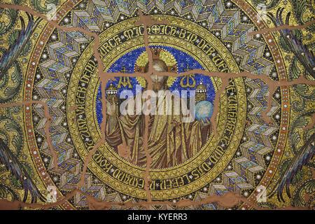 Jesus Christ depicted in the mosaic designed by German painter Hermann Schaper (1905-1906) inside the Kaiser Wilhelm - Stock Photo