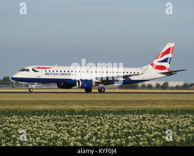 G-LCYW BA CityFlyer Embraer ERJ-190SR (ERJ-190-100 SR) takeoff from Schiphol (AMS - EHAM), The Netherlands pic1 - Stock Photo