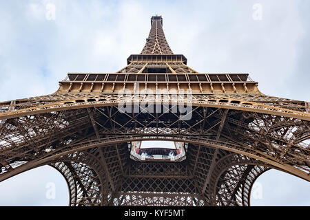Eiffel tower low wide angle view in Paris - Stock Photo