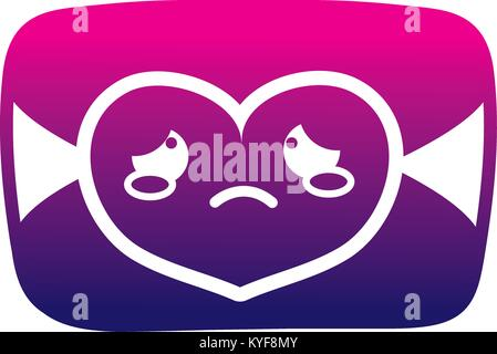 silhouette crying love card kawaii cartoon - Stock Photo