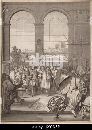 Sébastien Leclerc I, Louis XIV Visiting the Royal Academy of Sciences, 1671 - Stock Photo