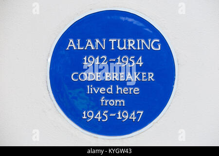 Blue plaque on former home of / house once lived in by Alan Turing, the famous mathematician & enigma code breaker. - Stock Photo