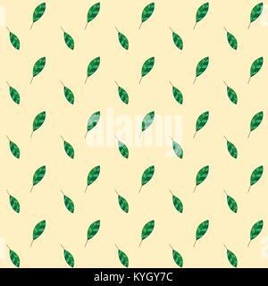Seamless leaf pattern on yellow background. Green Leaf vector pattern. Floral pattern vector background. Fallen - Stock Photo