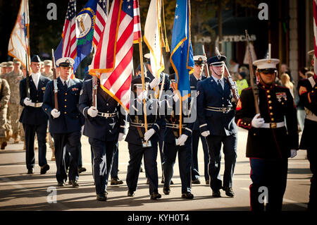 The Kentucky Air National Guard fielded a color guard detail as part of the Louisville, Ky., Veterans Day Parade - Stock Photo