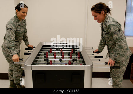 Senior Airman Jeannie Belgrave (left) and Senior Airman Ashley Nix (right), both food service specialists in the - Stock Photo