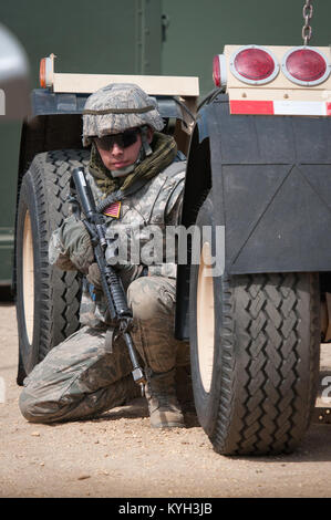 Senior Airman Beau DeLeon, a civil engineer from the New Jersey Air Guard's 108th Contingency Response Group, takes - Stock Photo