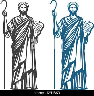 Moses holds in hand two stone tablets of covenant with ten commandments. Judaism religion, Jewish prophet symbol. - Stock Photo